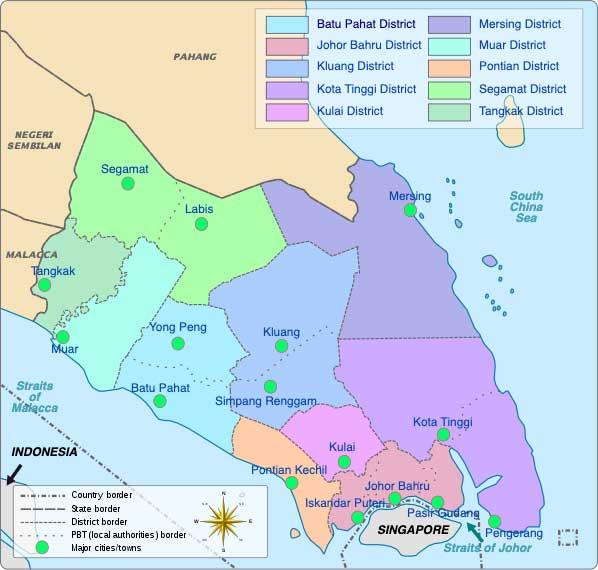 Johor district list