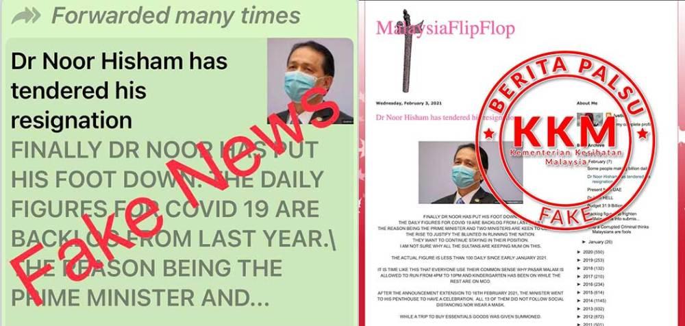 Hoax : Dr Noor Hisham Has Tendered His Resignation!