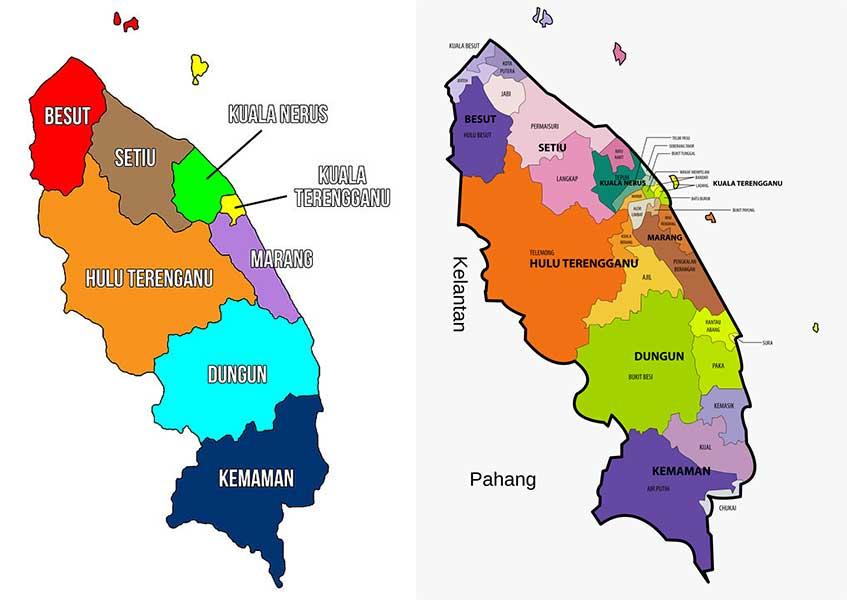 Terengganu district maps