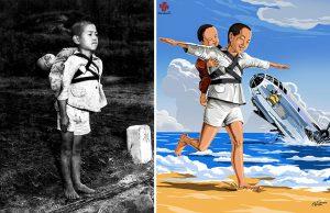 منداڵێكی ژاپۆنی كه جنازهی برا بچووكهكهی بۆ سووتاندن بردۆته پهرستگه (1945-شهڕی دووههمی جیهانی)