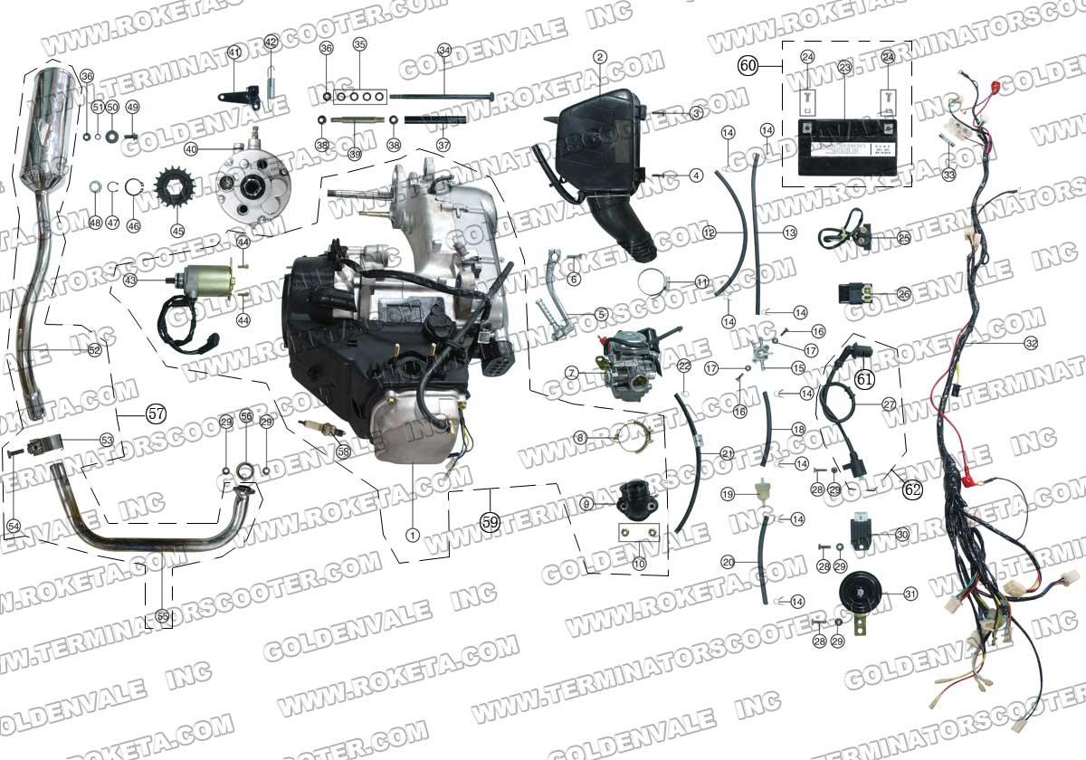 ROKETA ATV-07-150 ENGINE/WIRING/EXHAUST PARTS
