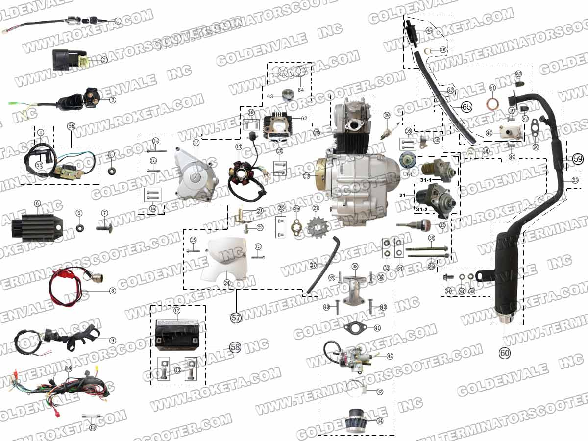 Roketa Atv 21a Engines Wiring And Exhaust Parts