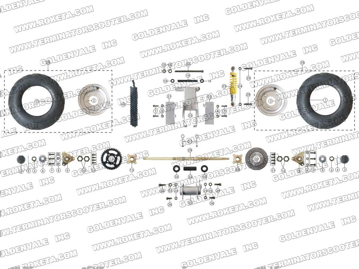 Roketa Atv 21a Rear Wheel Assembly Parts