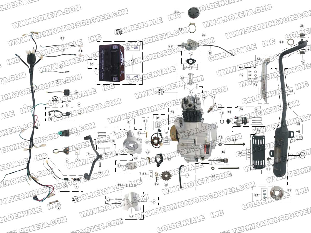 ROKETA ATV-41 ENGINE, WIRING AND EXHAUST PARTS