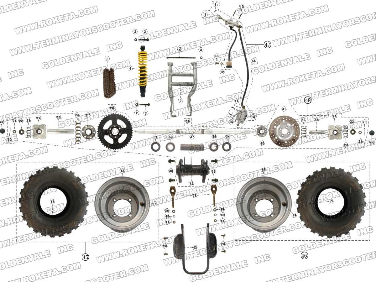 Roketa Atv 41 Rear Wheel Assembly Parts