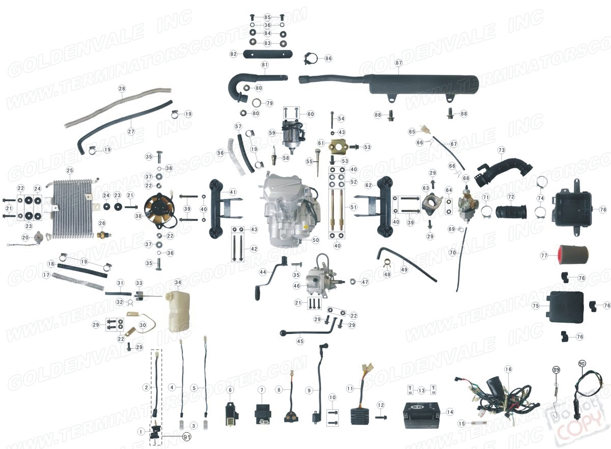 ROKETA ATV-02 ENGINE, WIRING AND EXHAUST PARTS