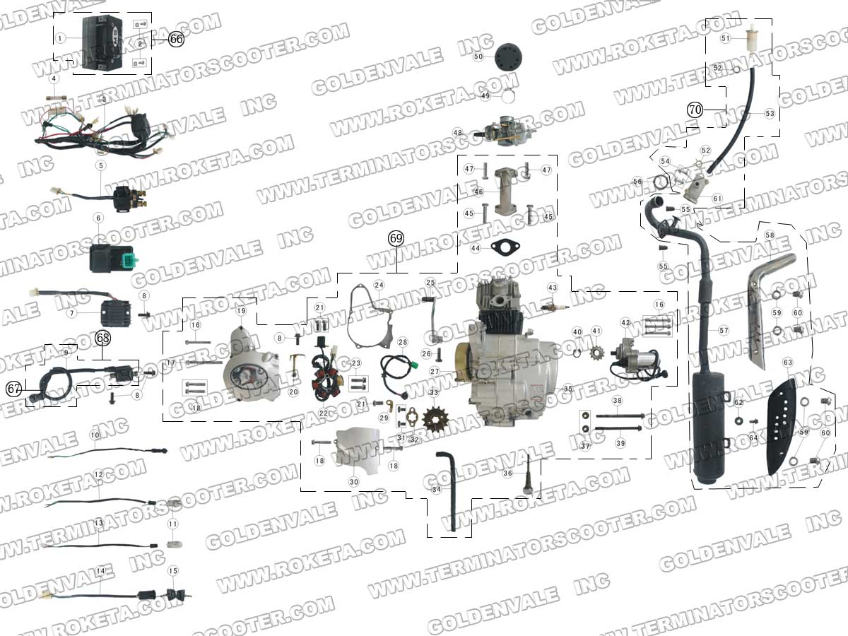 ROKETA ATV-03-110 ENGINE, WIRING AND EXHAUST PARTS