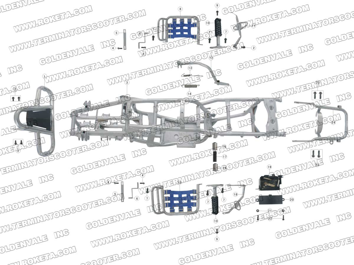 Roketa Atv 03 200 Frame Parts