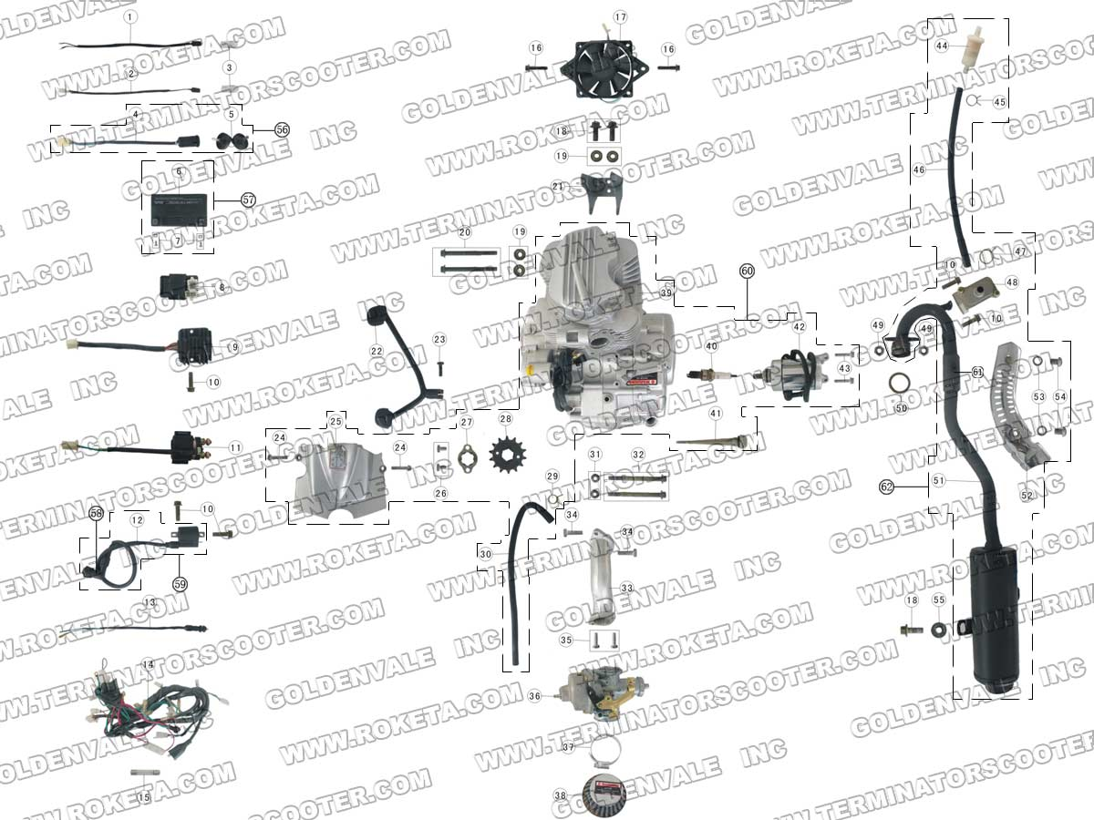 ROKETA ATV-03-200 ENGINE, WIRING AND EXHAUST PARTS