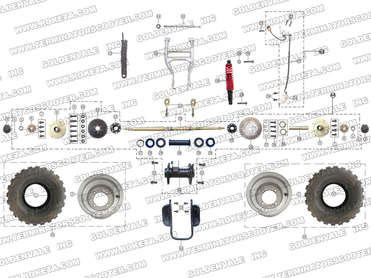 ROKETA ATV-04-250 REAR WHEEL ASSEMBLY PARTS