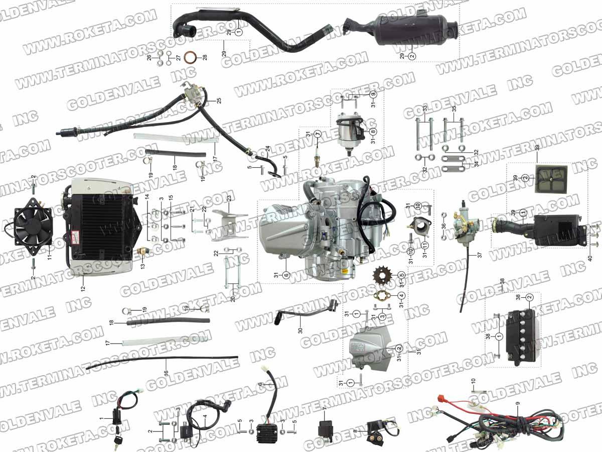 ROKETA ATV-04WC ENGINE, WIRING AND EXHAUST PARTS
