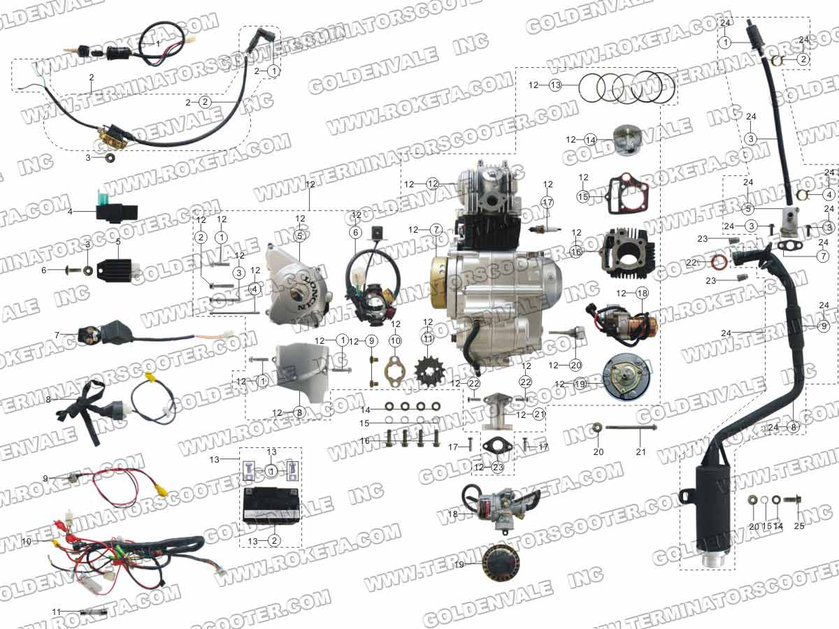 ROKETA ATV-08L ENGINE, WIRING AND EXHAUST PARTS