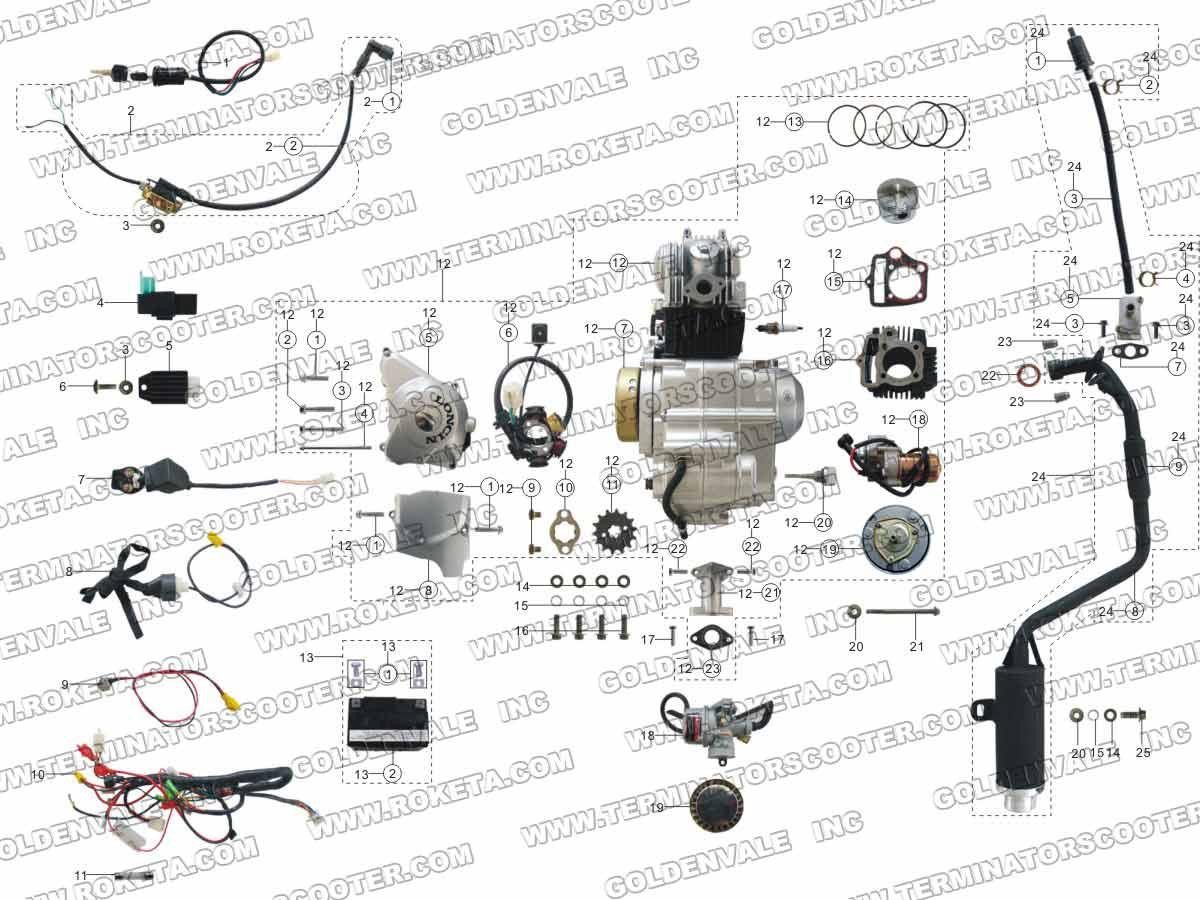 ROKETA ATV-08L ENGINE, WIRING AND EXHAUST PARTS
