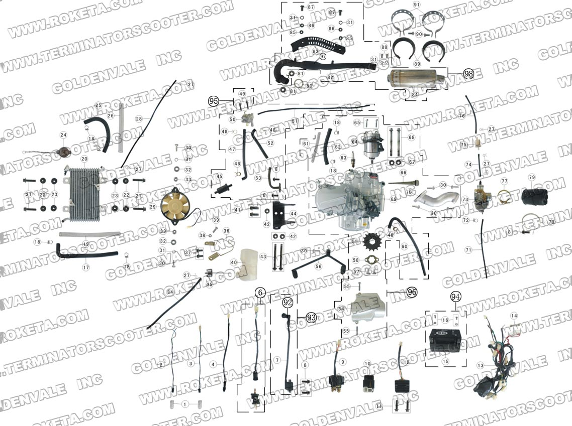ROKETA ATV-09 ENGINE, WIRING AND EXHAUST PARTS