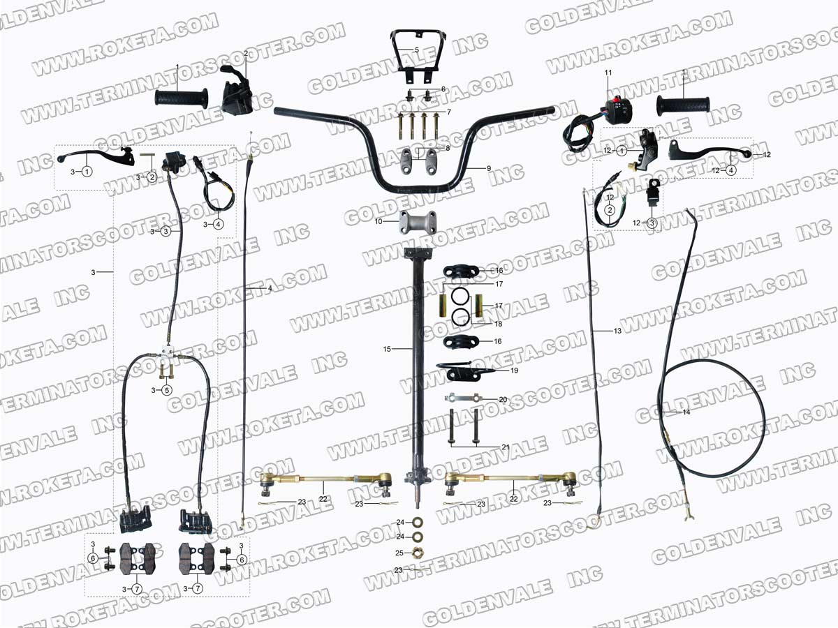 ROKETA ATV-10 STEERING ASSEMBLY PARTS