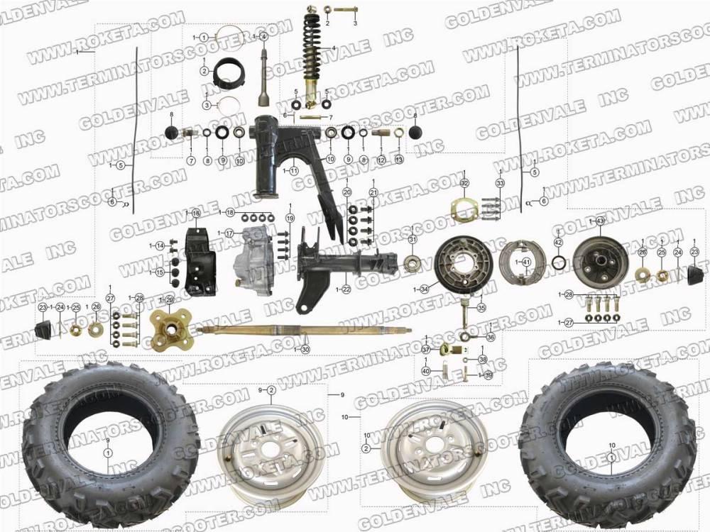 medium resolution of roketa atv 11 rear wheel assembly parts cj5 clutch diagram roketa clutch diagram