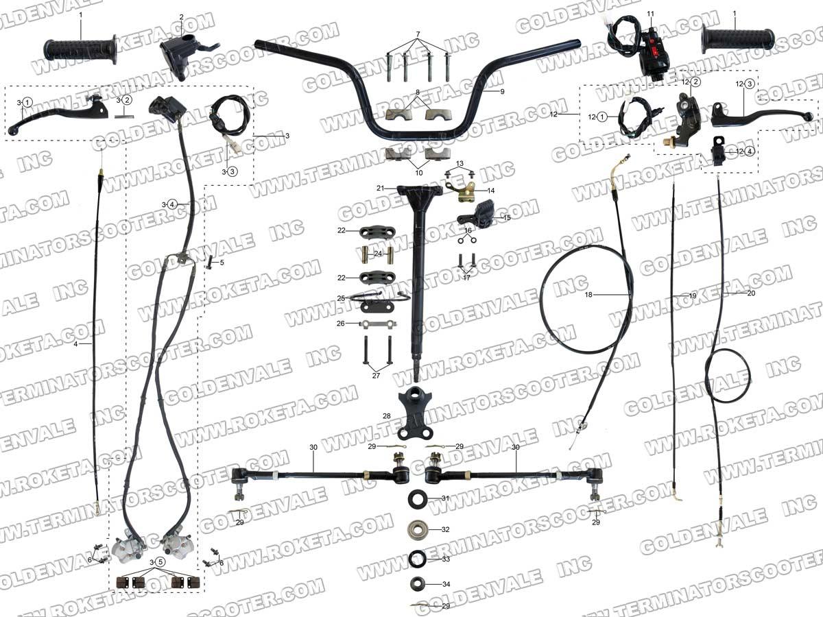 Roketa Atv 11 Steering Assembly Parts