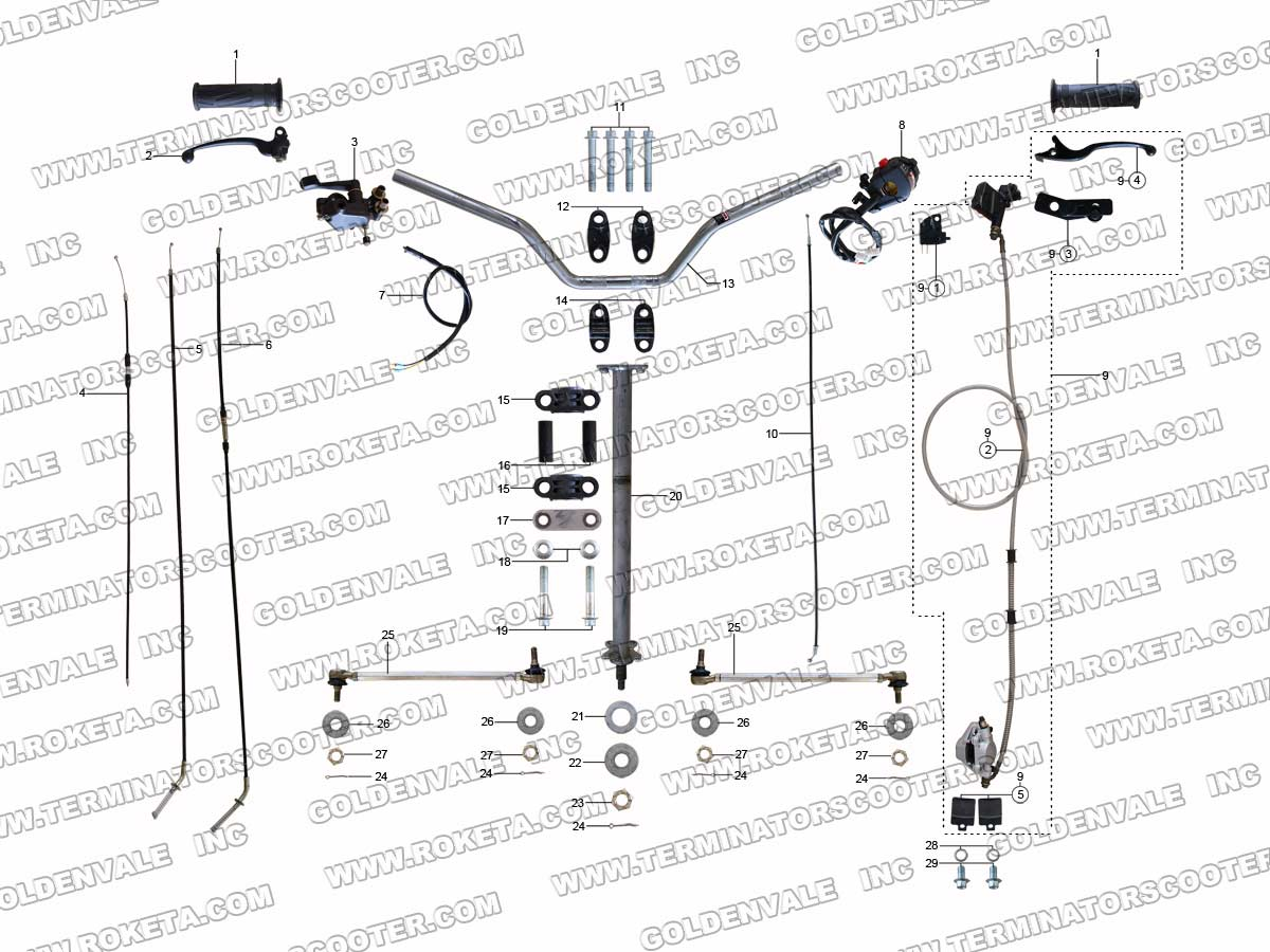 ROKETA ATV-15C STEERING ASSEMBLY PARTS