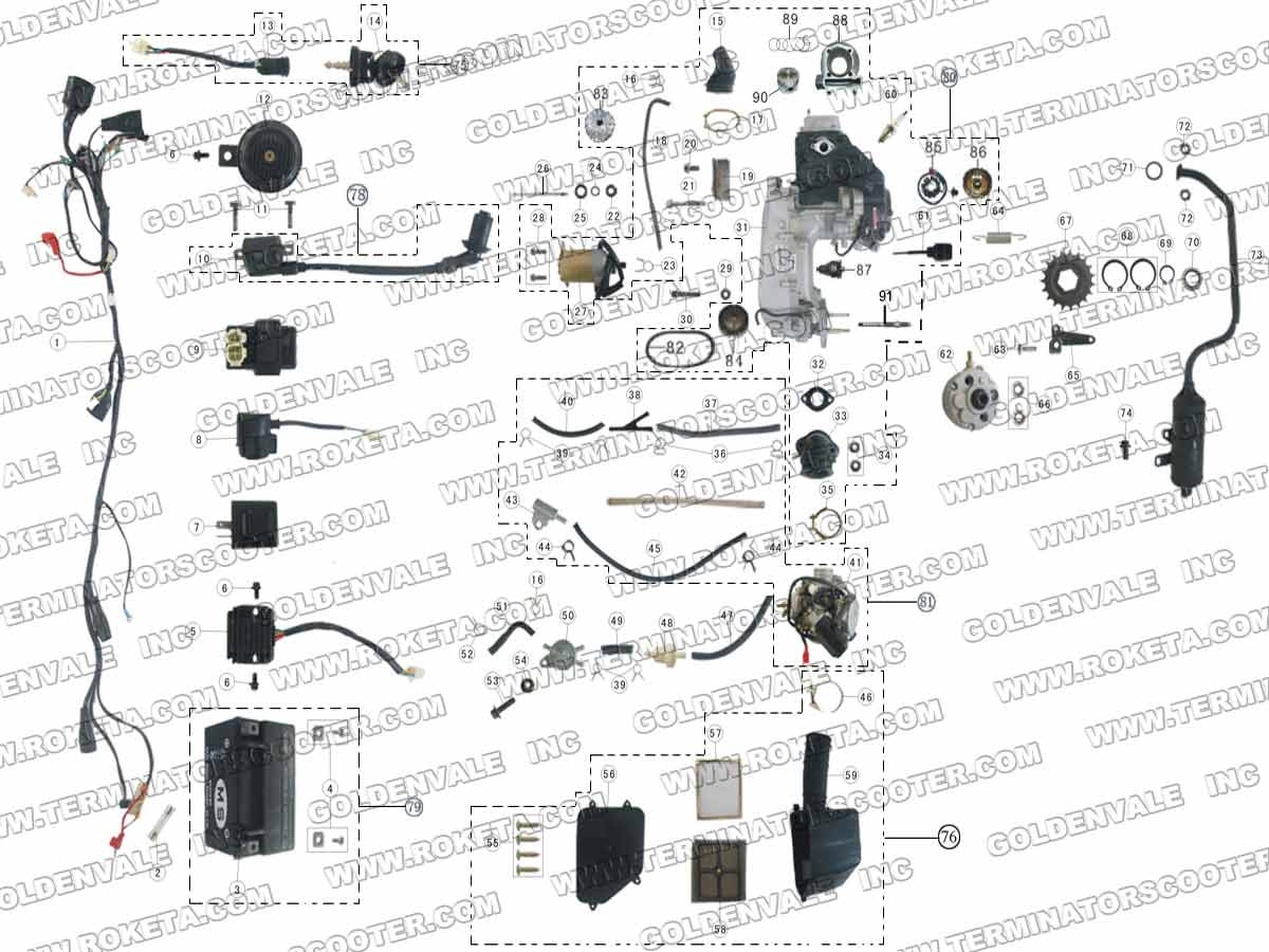 ROKETA ATV-17W ENGINE, WIRING AND EXHAUST PARTS