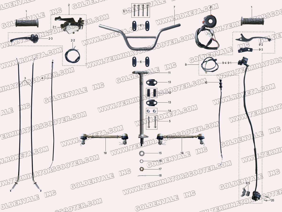 hight resolution of roketa atv 20ar steering assembly parts chinese blizzard four wheeler wiring diagram 20ar atv wiring diagram