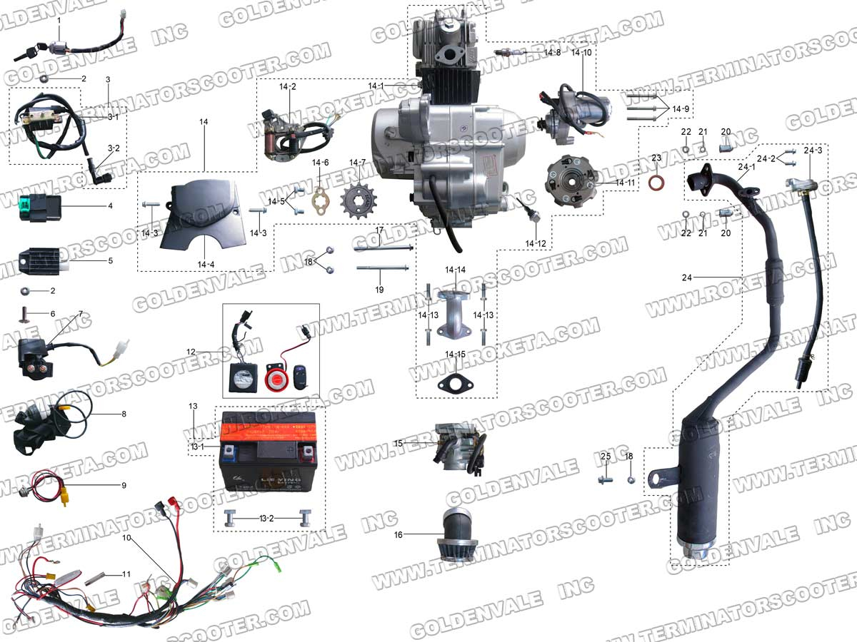 hight resolution of roketa atv 20ar engine wiring and exhaust parts 250cc chinese atv wiring diagram roketa atv wiring diagram