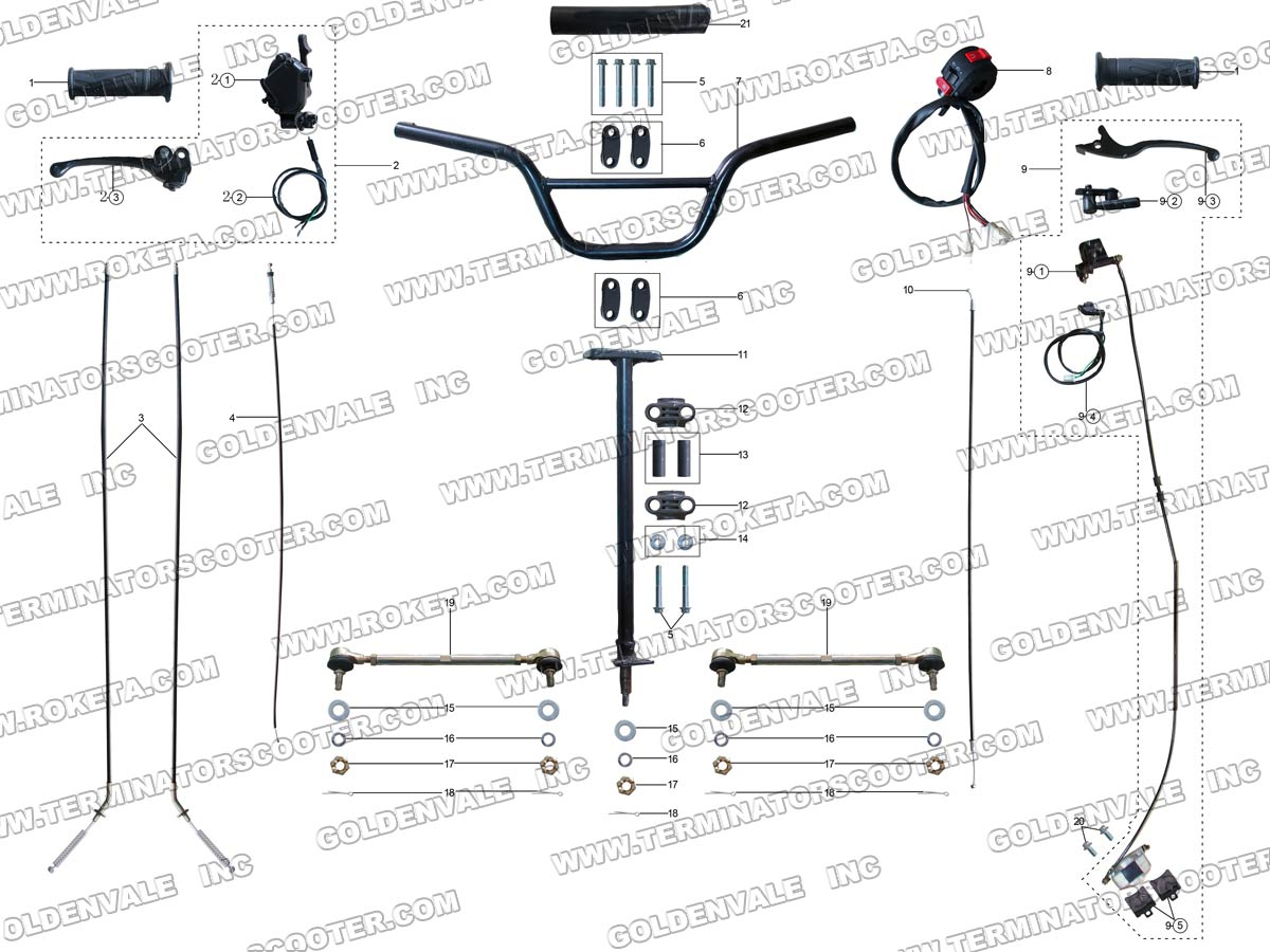 ROKETA ATV-29 STEERING ASSEMBLY PARTS
