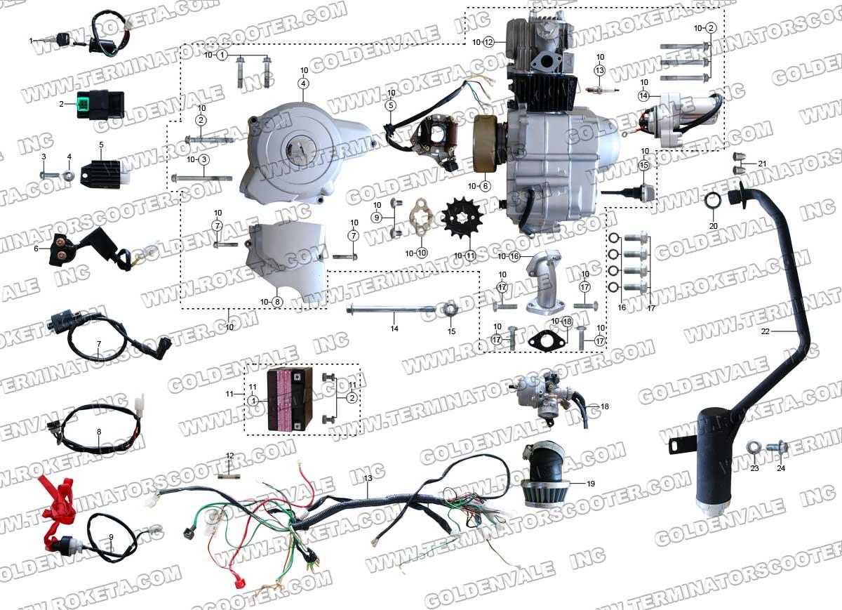 loncin 110cc atv wiring diagram super pro tachometer roketa atv-32 engine, and exhaust parts