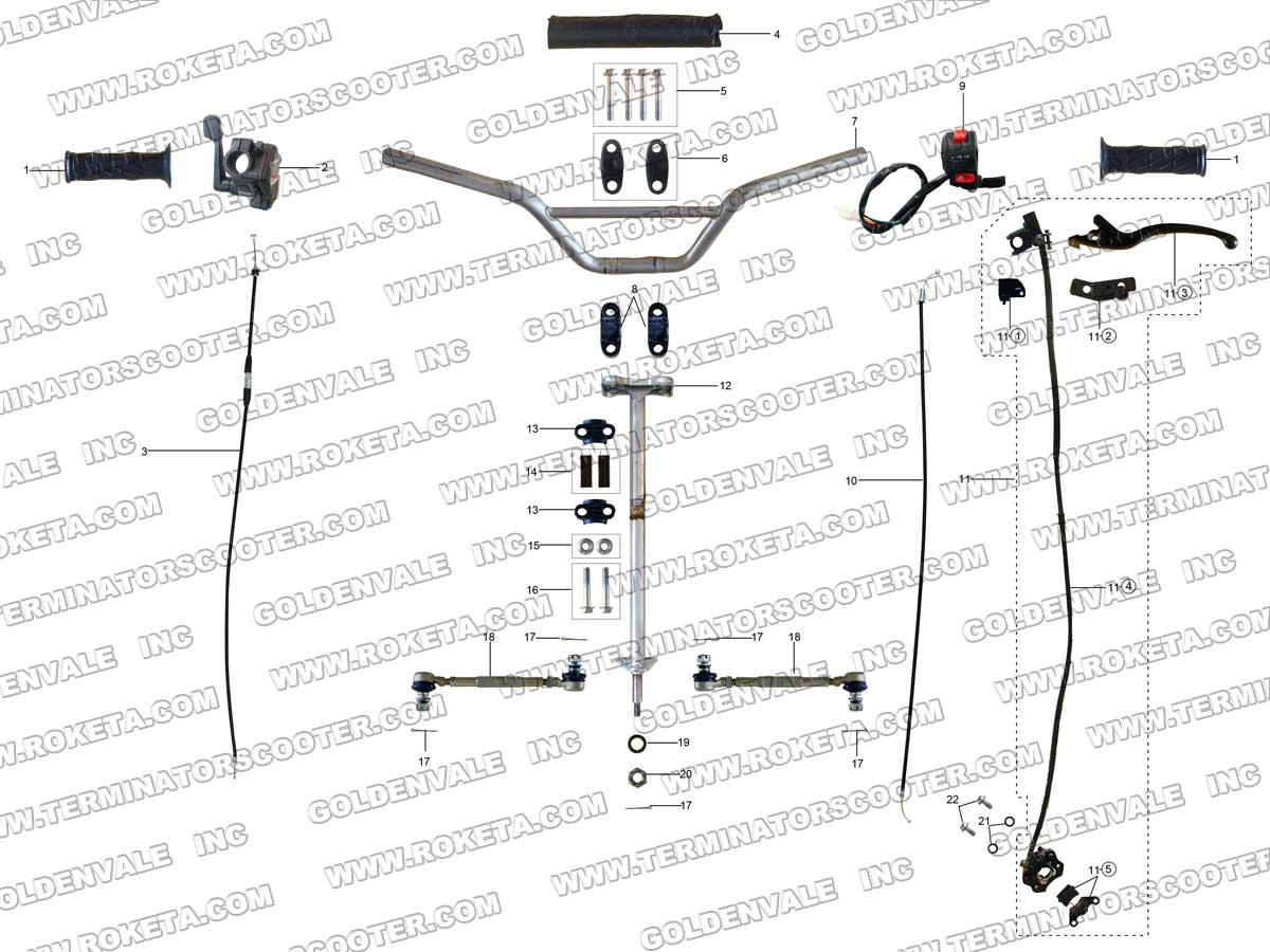 Roketa Atv 32 Steering Assembly Parts