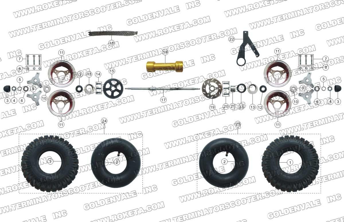 Roketa Atv 38 Rear Wheel Assembly Parts