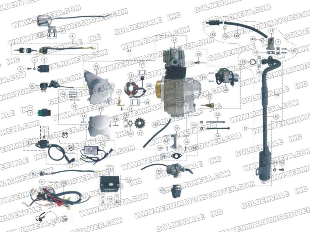 medium resolution of atv59 engine wiring and exhaust parts roketa parts department