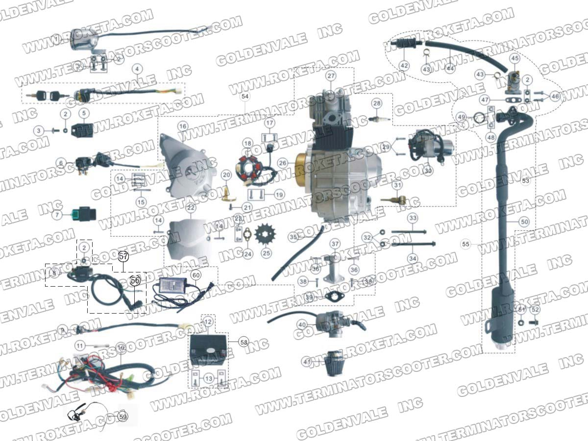 hight resolution of atv59 engine wiring and exhaust parts roketa parts department