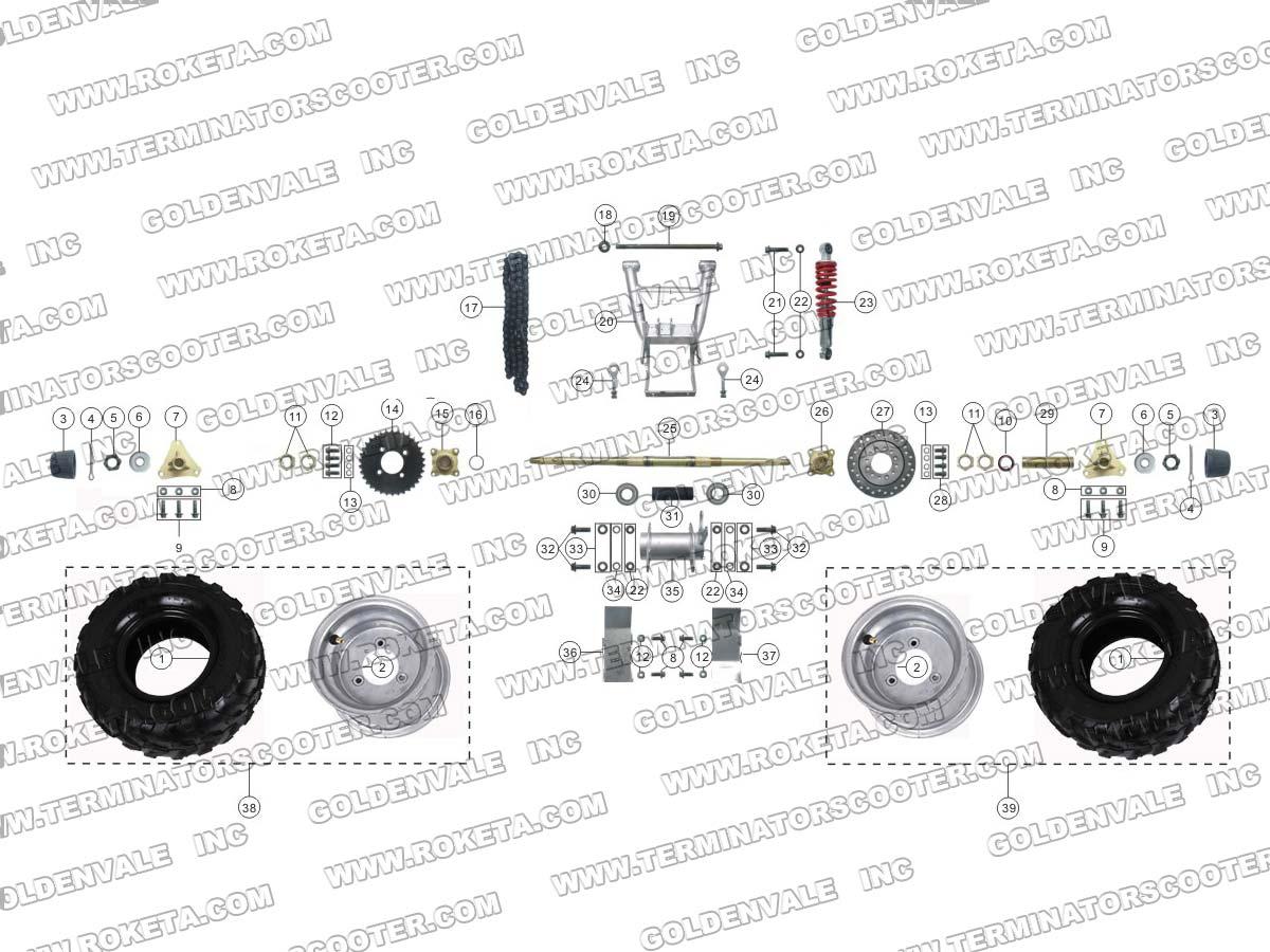Roketa Atv 59 Rear Wheel Assembly Parts