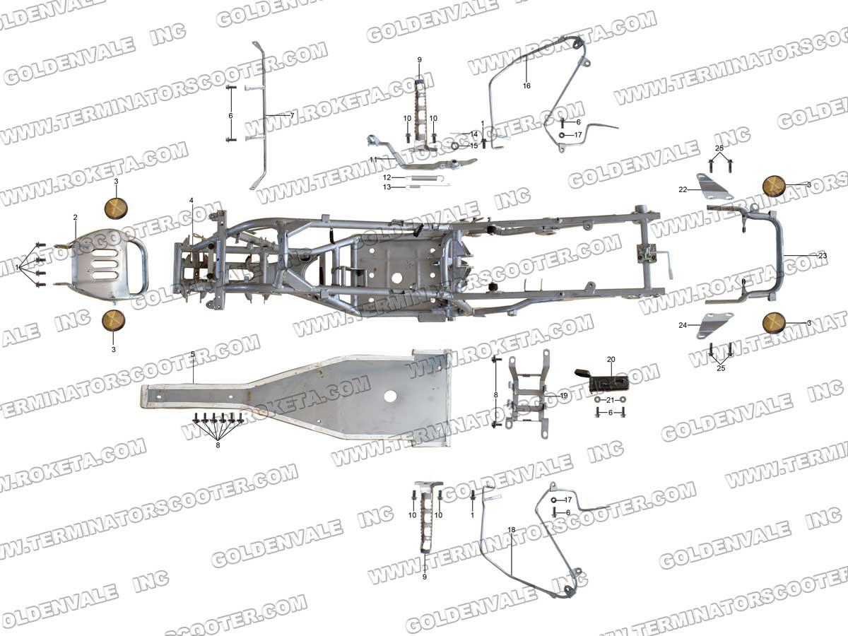 Roketa Atv 60 Frame Parts