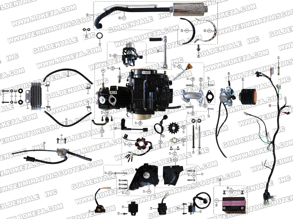 ROKETA ATV-67 ENGINE, WIRING AND EXHAUST PARTS