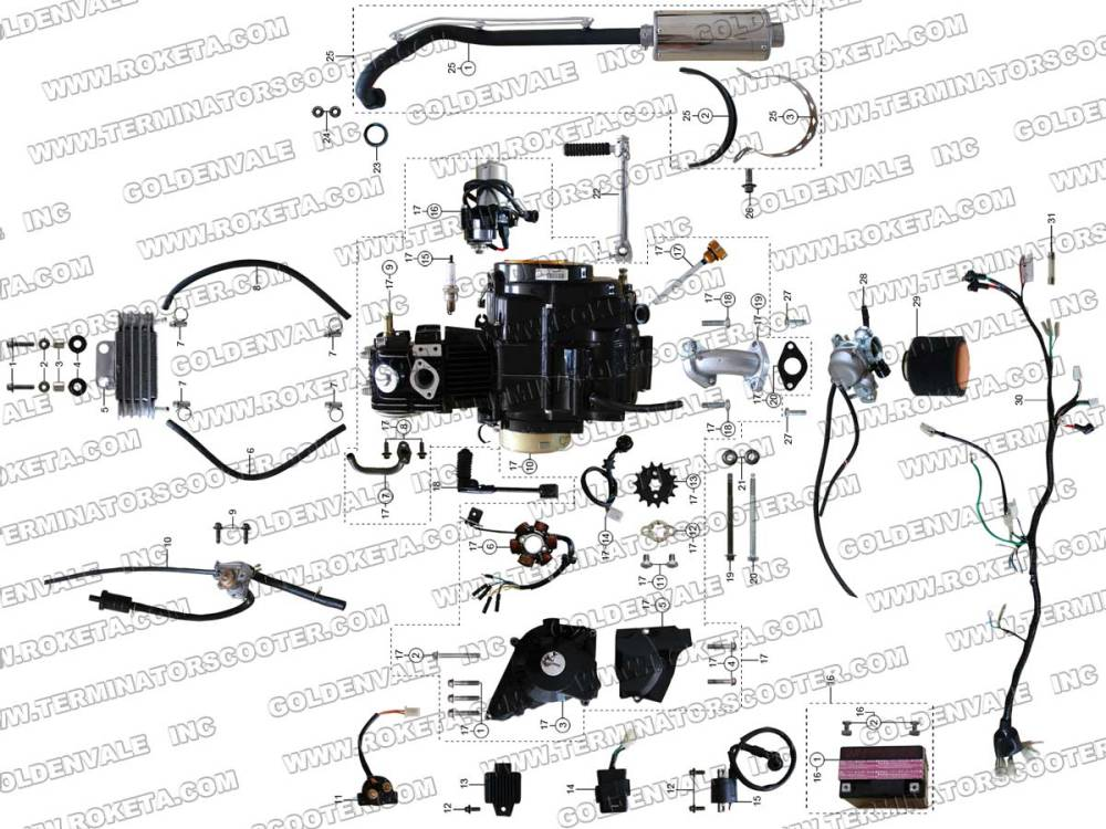 medium resolution of roketa atv 67 engine wiring and exhaust parts st roketa parts department 50cc roketa scooter wiring diagram trusted diagrams go kart