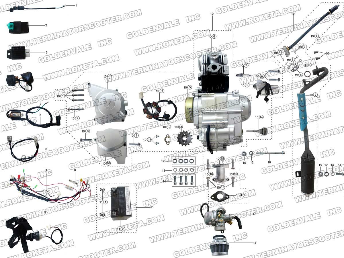 Roketa Atv 69 Engine Wiring And Exhaust Parts