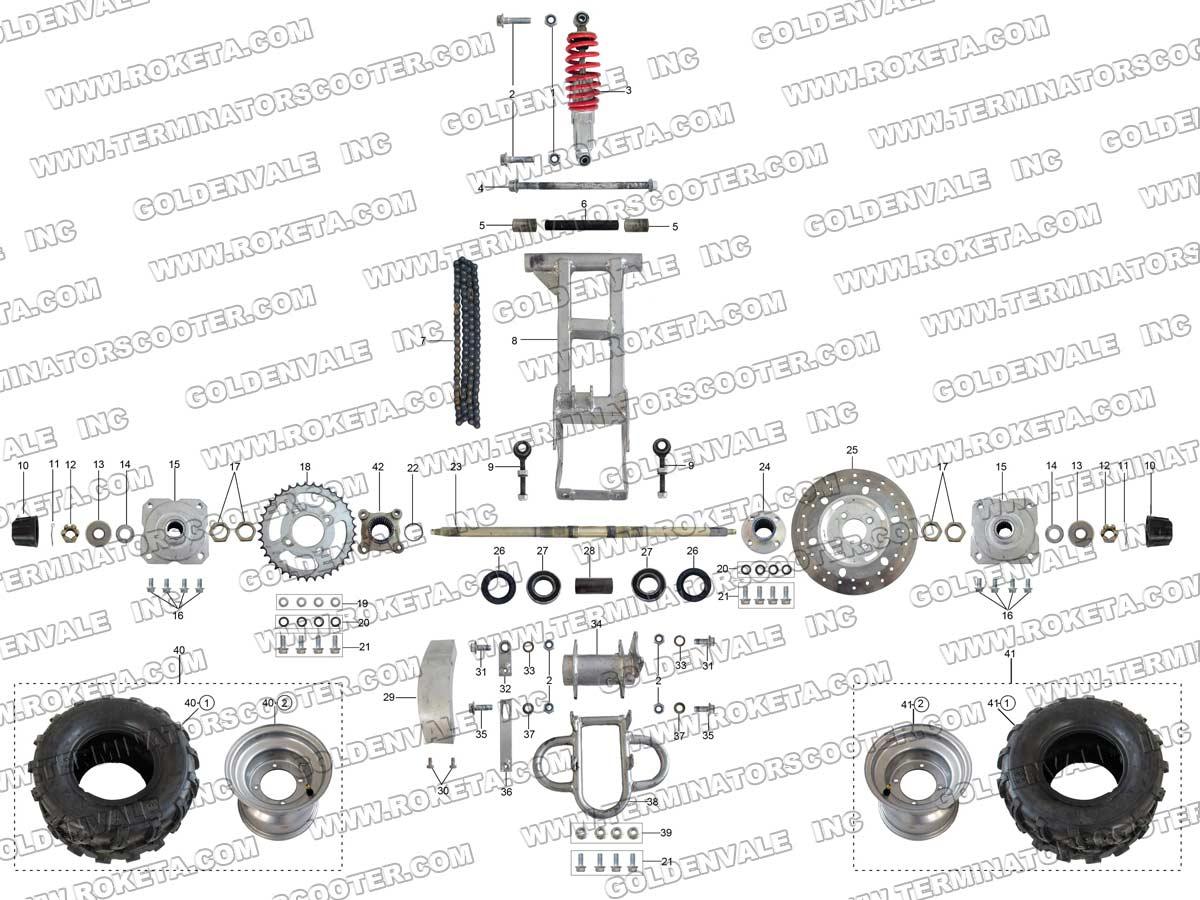 Roketa Atv 79 Rear Wheel Assembly Parts