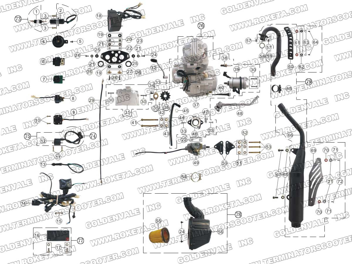 ROKETA DB-06 ENGINE, WIRING AND EXHAUST PARTS