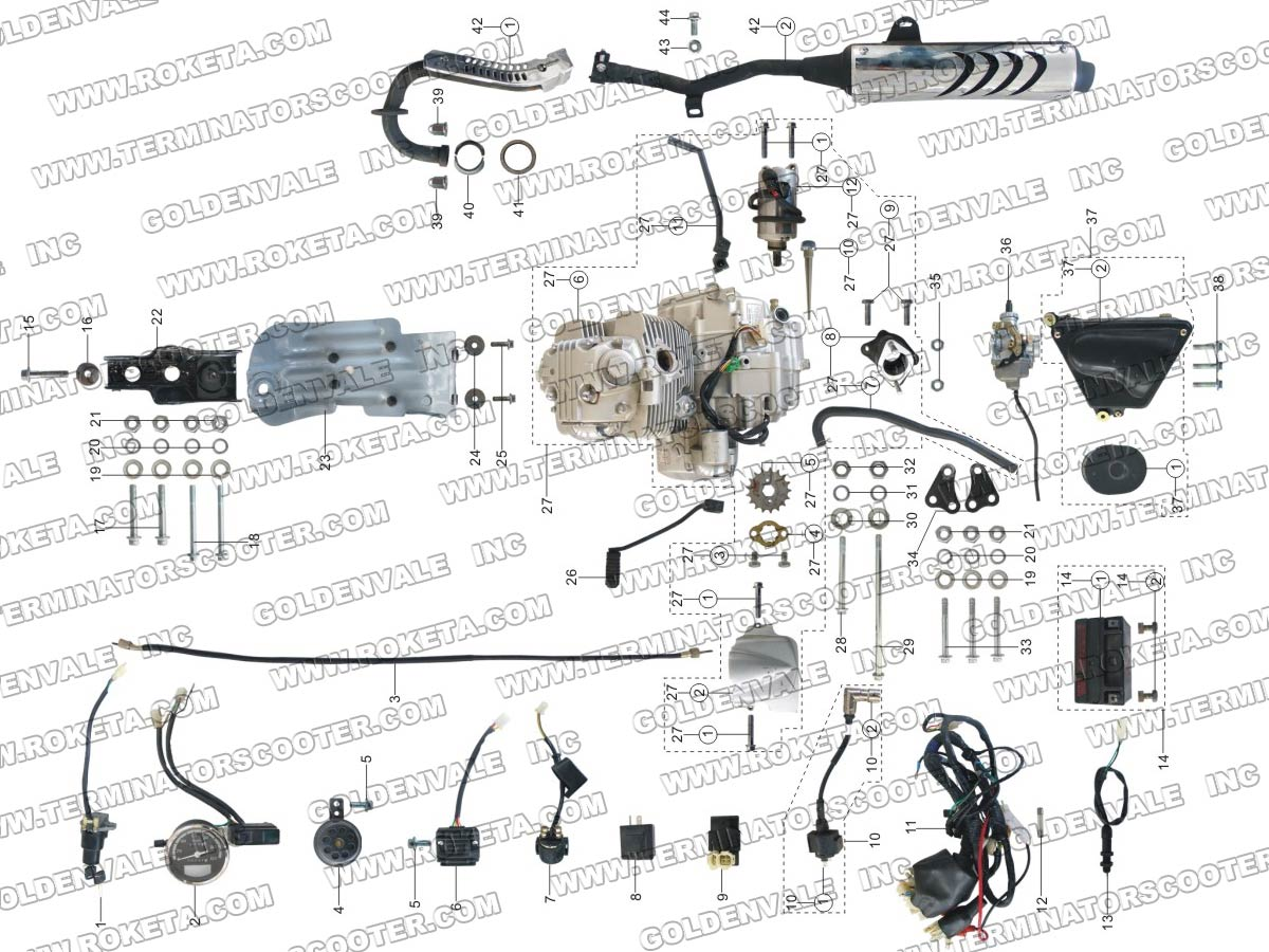 ROKETA DB-07 ENGINE, WIRING AND EXHAUST PARTS