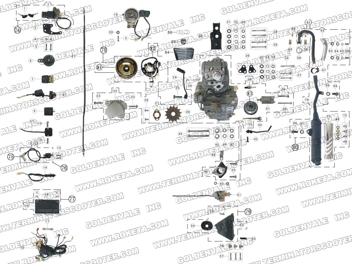 ROKETA DB-07A ENGINE, WIRING AND EXHAUST PARTS