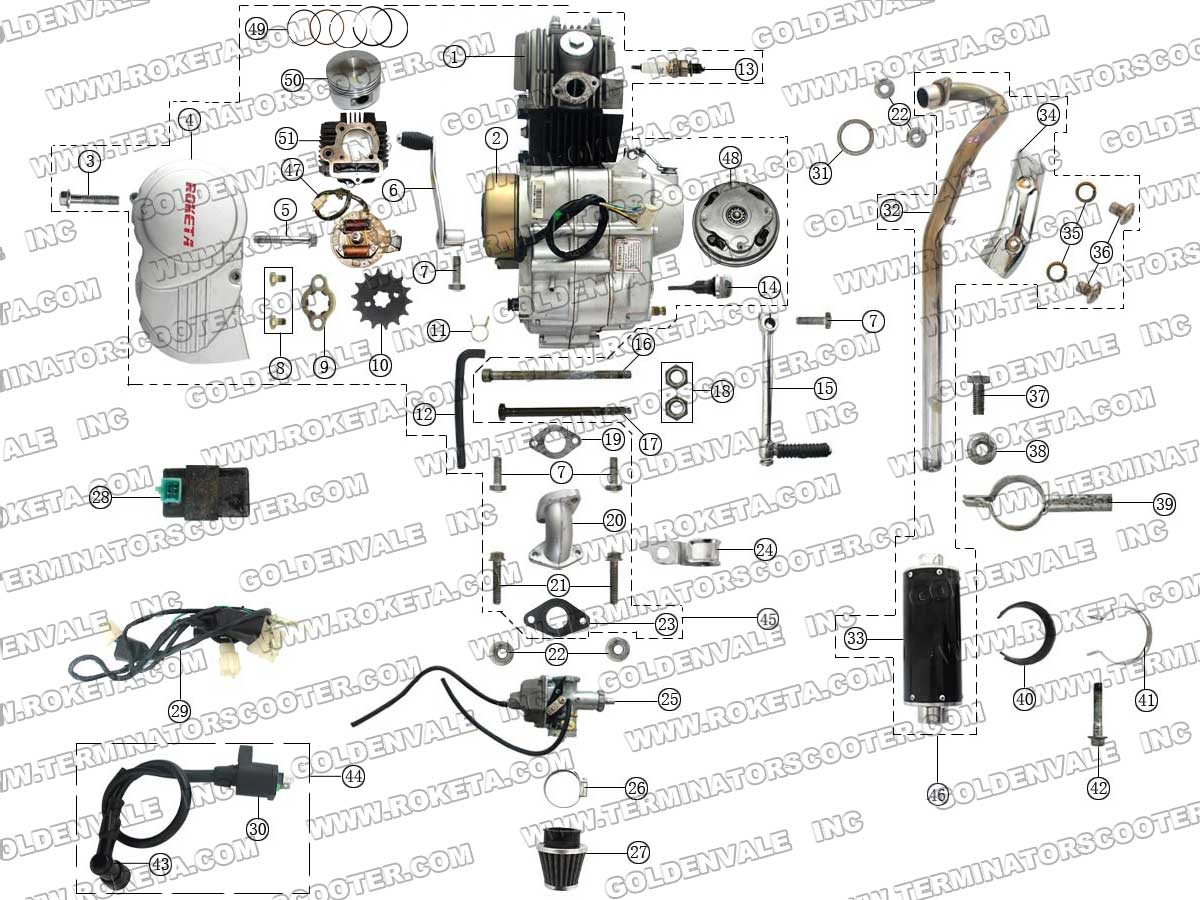 ROKETA DB-19 ENGINE, WIRING AND EXHAUST PARTS