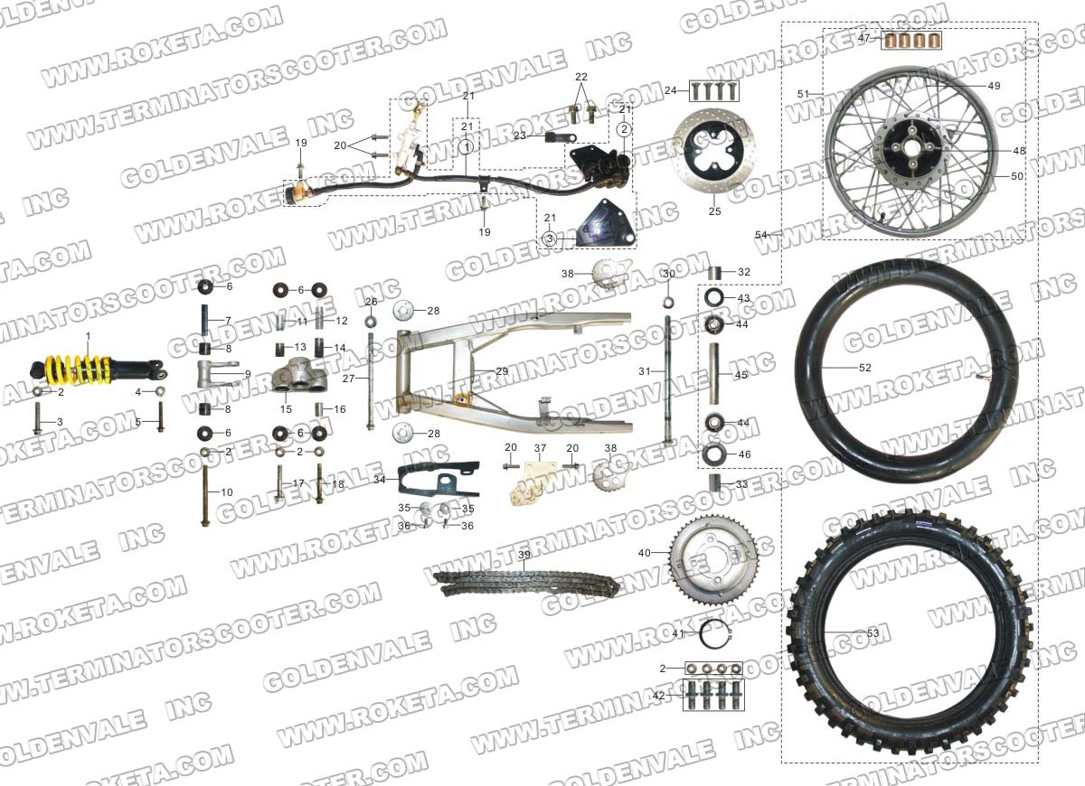 ROKETA DB-27A REAR WHEEL ASSEMBLY PARTS