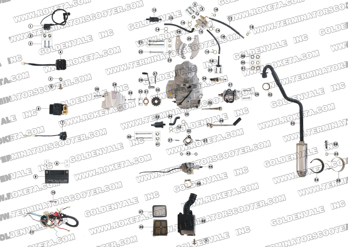Roketa Db 36a Engine Wiring And Exhaust Parts