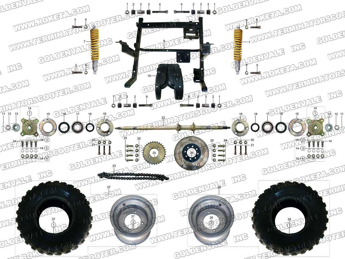 hight resolution of roketa gk 28 rear wheel assembly parts rh roketapartsdept com 250cc go kart wiring diagram