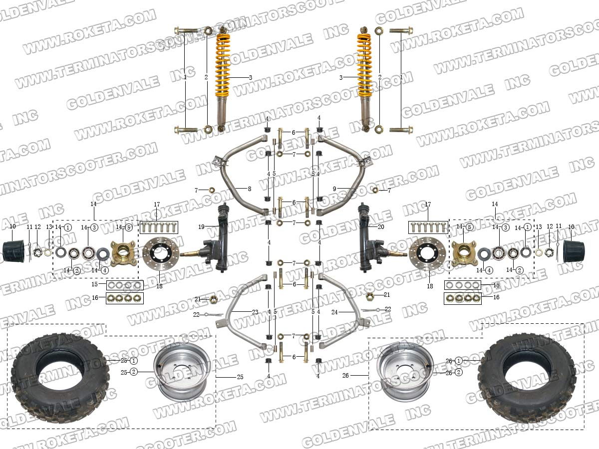 ROKETA GK-28 FRONT WHEEL ASSEMBLY PARTS