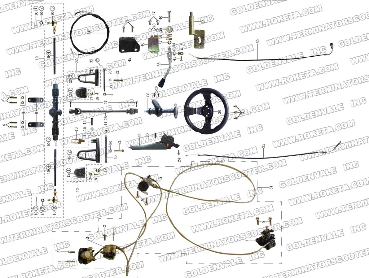 Roketa Gk 28 Steering Assembly Parts