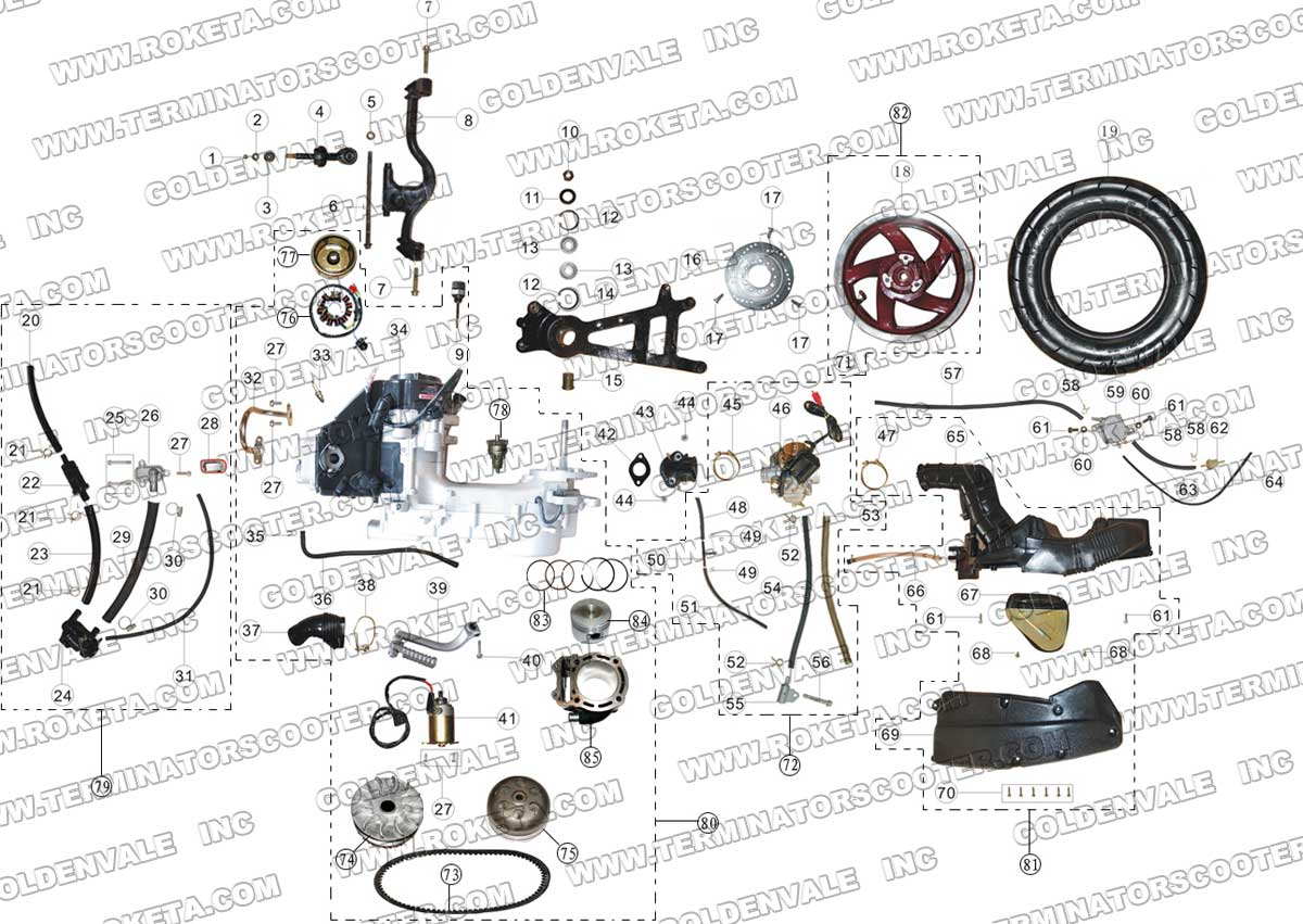 ROKETA MC-13-150 ENGINE AND REAR WHEEL ASSEMBLY PARTS