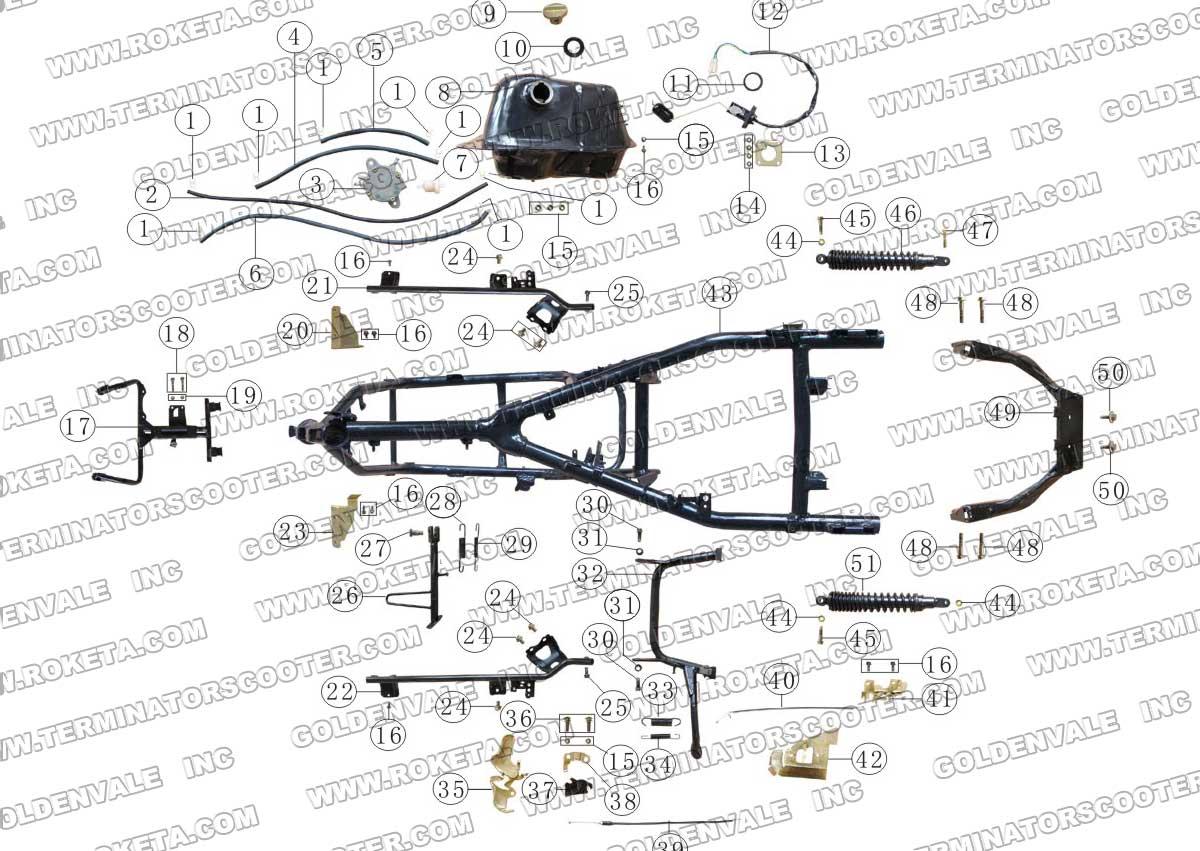 ROKETA MC-13-250 FRAME PARTS