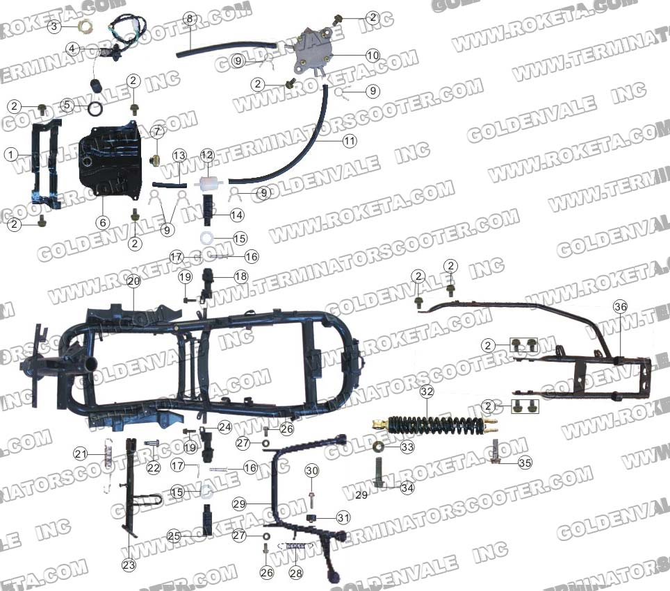 ROKETA MC-16-150 FRAME PARTS
