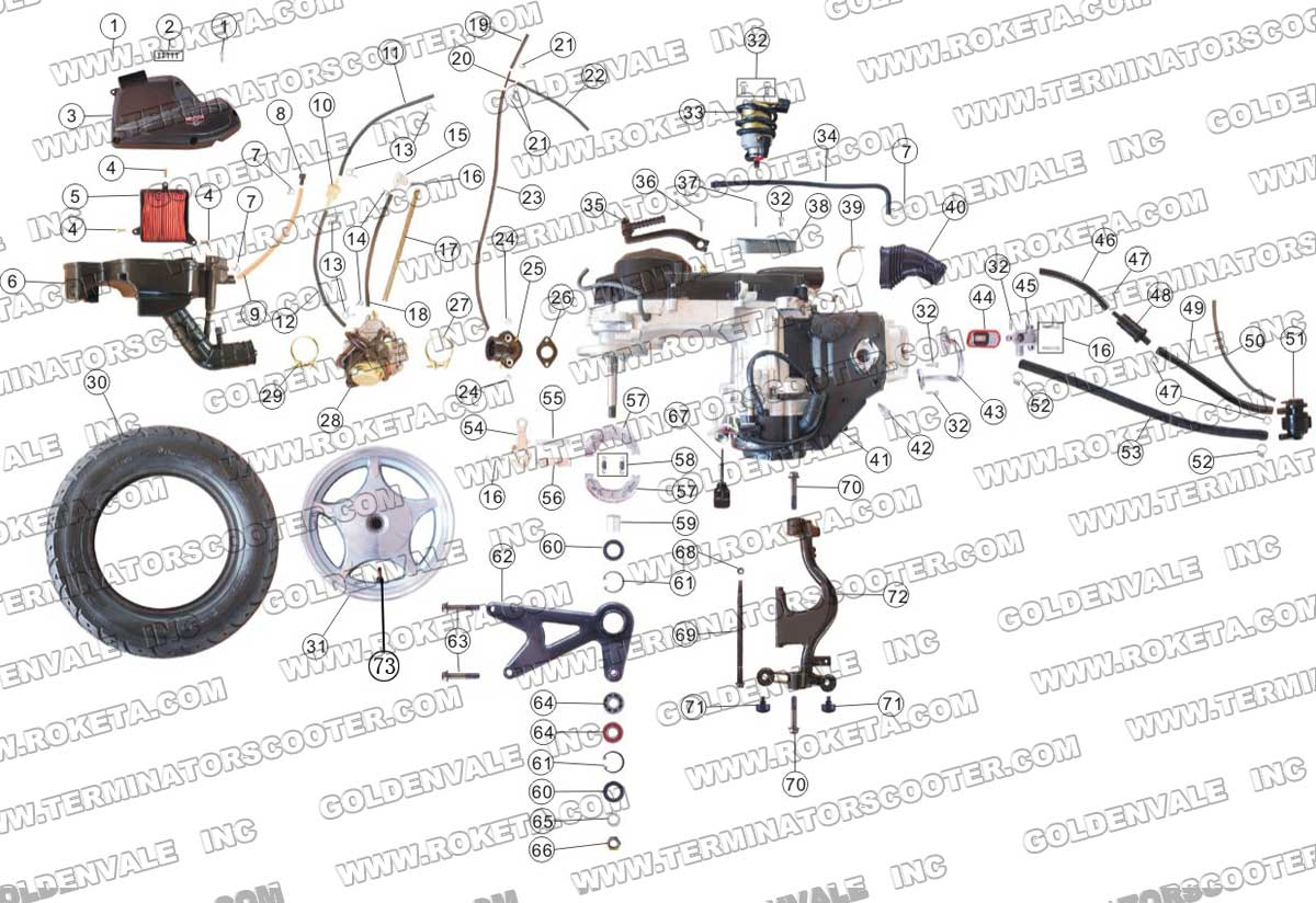 ROKETA MC-17-150 ENGINE AND REAR WHEEL ASSEMBLY PARTS
